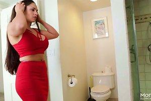Huge Boobed Cougar Sucking Massive Dick In A Bathroom